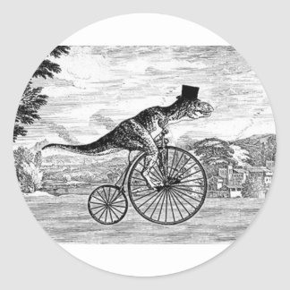 Gentleman T-Rex's Sunday Ride Classic Round Sticker