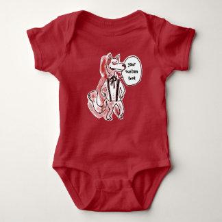 gentleman wolf cartoon style funny illustration baby bodysuit