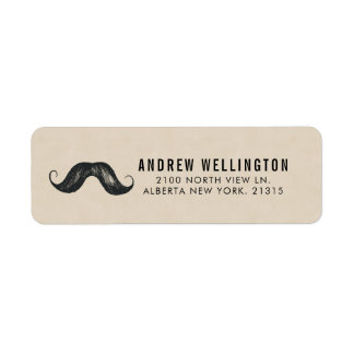 Gentlemen's Stache Vintage Style   Return Address Return Address Label