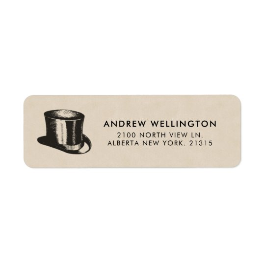 Gentlemen's Top Hat Vintage Style | Return Address Return Address Label