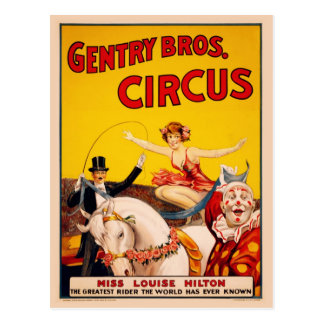 Gentry Bros. Circus Poster ft. Miss Louise Hilton Postcard