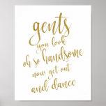Gents Bathroom Gold Glitter 8x10 Wedding Sign