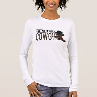 Genuine Cowgirl Hat & Boots with Spurs Long Sleeve T-Shirt