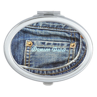 Genuine Denim Blue Jeans Pocket Mirror For Makeup