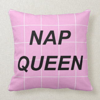 GENYOLO Nap Queen Quote Pink Aesthetic Grid Pillow