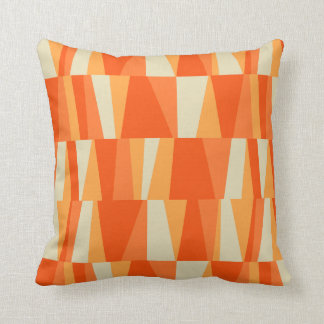 Geo Abstract Triangle Patchwork tiger lily pumpkin Throw Pillow