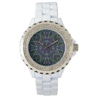 [GEO-BLU-1] Blue and black arabesque Wrist Watches