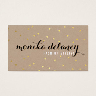 GEO CONFETTI GOLD stylish trendy cool kraft black Business Card