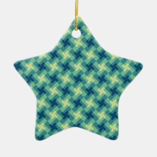 Geo Cross Pattern Ceramic Ornament