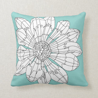 Geo Flower Pillow - Teal