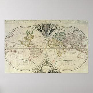 Geo-Hydrographic Mappamonde Poster