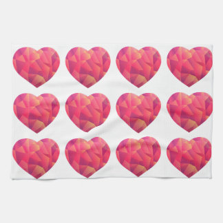 Geo Ombre Rose Pink Heart Kitchen Towel