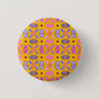 [GEO-OR-1] Cute geometric patterns on orange 1 Inch Round Button