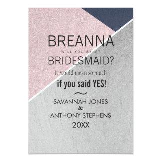 Geo Rose Quartz Navy Blue and Silver Bridesmaids Card