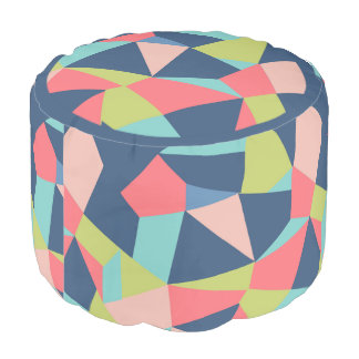 Geo shapes in crazy patchwork design pouf