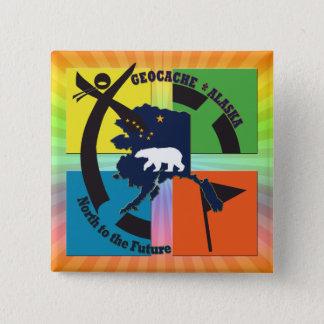 GEOCACHE ALASKA- NORTH TO THE FUTURE 2 INCH SQUARE BUTTON