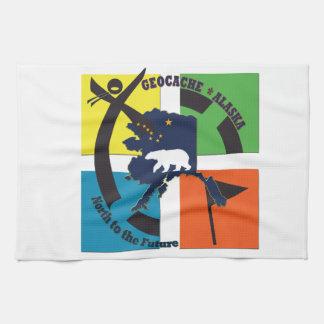 GEOCACHE ALASKA & STATE MOTTO KITCHEN TOWEL