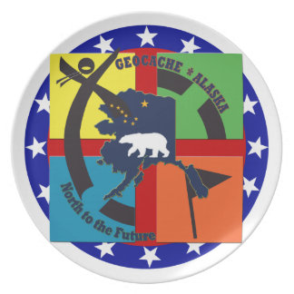 GEOCACHE ALASKA & STATE MOTTO PARTY PLATES
