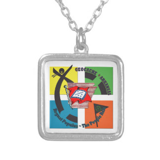 GEOCACHE ARKANSAS MOTTO PEOPLE RULE SILVER PLATED NECKLACE