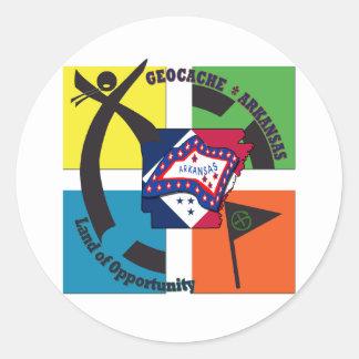 GEOCACHE ARKANSAS NICKNAME LAND OPPORTUNITY CLASSIC ROUND STICKER