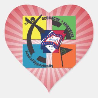GEOCACHE ARKANSAS NICKNAME LAND OPPORTUNITY HEART STICKER
