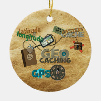 Geocache Fever - Customize Round Ceramic Ornament