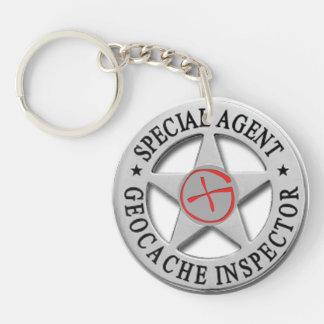 Geocache Inspector *Special Agent* w/logo Keychain