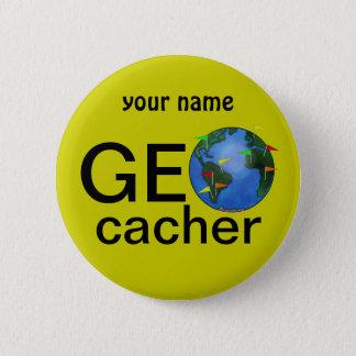 Geocacher Earth Geocaching Custom Name 2 Inch Round Button
