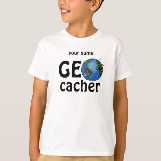 Geocacher Earth Geocaching Kids Custom Name Tee