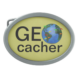 Geocacher Earth with Flags Geocaching Custom Belt Buckle