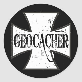 Geocacher Iron Cross Classic Round Sticker