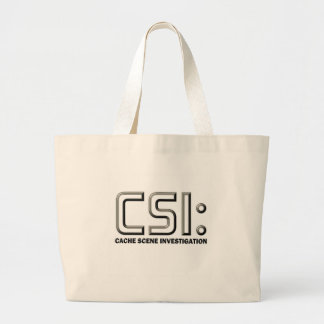 Geocaching CSI graphic design Beach Swag Bag! Large Tote Bag