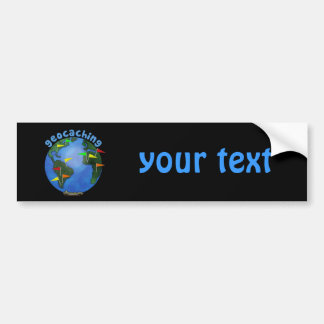 Geocaching Earth With Cache Flags Custom Bumper Sticker