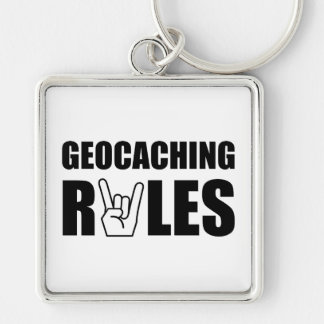 Geocaching Rules Silver-Colored Square Keychain