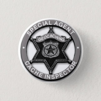 Geocaching *Special Agent* Cache Inspector Badge 1 Inch Round Button