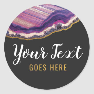 Geode Agate Slice Gemstone Ultra Violet Purple Classic Round Sticker