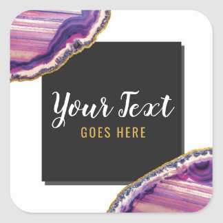 Geode Agate Slice Gemstone Ultra Violet Purple Square Sticker