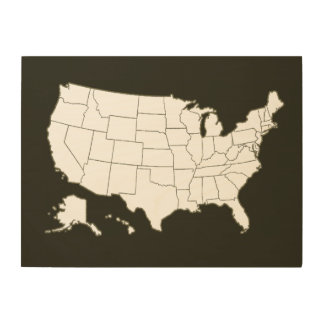 geographic map of the USA, black and white Wood Canvases