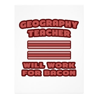 Geography Teacher Will Work For Bacon Letterhead Template