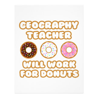 Geography Teacher Will Work For Donuts Customized Letterhead