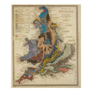 Geological map, England, Wales Poster