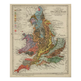 Geological map England, Wales Poster