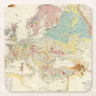 Geological map Europe Square Paper Coaster