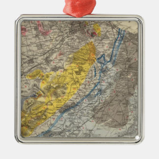 Geological map of Edinburgh Silver-Colored Square Ornament