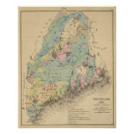 Geological map of Maine Poster