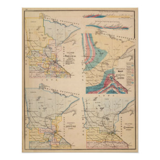 Geological map of Minnesota by NH Winchell Poster