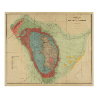 Geological map of the Black Hills of Dakota Poster