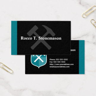 Geologist Crossed Rock Hammer Shield Business Card
