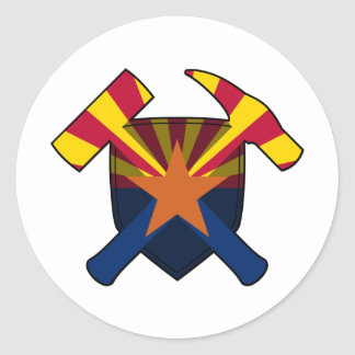 Geologist's Rock Hammer Shield- Arizona State Flag Classic Round Sticker