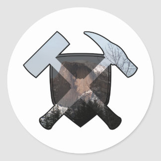 Geologist's Rock Hammer Shield- Half Dome Classic Round Sticker